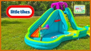 getlinkyoutube.com-HUGE INFLATABLE WATER SLIDE LITTLE TIKES + Giant Egg Surprise Toys Disney Cars Paw Patrol Bath Toys