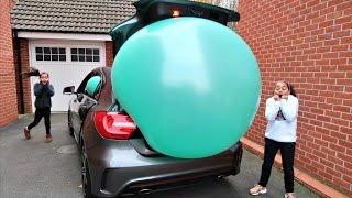 getlinkyoutube.com-Giant Balloon Stuck In Our Car - Surprise Toys For Kids - Shopkins - Disney Toys