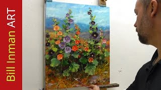 getlinkyoutube.com-How to Paint Hollyhocks - Online Art Courses Fast Motion Oil Painting Video by Bill Inman