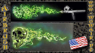 """Airbrush by Wow No.685 """" Blue / Green Flames """" with english commentary HD"""