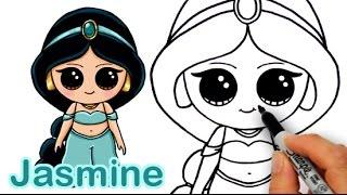getlinkyoutube.com-How to Draw Disney Princess Jasmine from Aladdin Cute