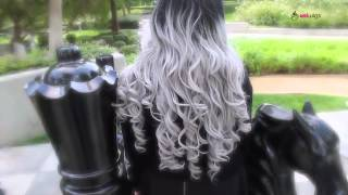 getlinkyoutube.com-Uniwigs® Butterfly Synthetic Lace Front Wig Body Wave Ombre Gray Hair  SL01021