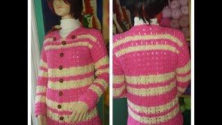 getlinkyoutube.com-Crochet sueter o cardigan rosa parte # 1 - con Ruby Stedman