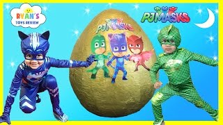 getlinkyoutube.com-PJ MASKS GIANT EGG SURPRISE Toys for Kids Disney Toys Catboy Gekko Owlette PJ Masks IRL Superhero
