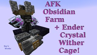 getlinkyoutube.com-AFK Obsidian Farm + Ender Crystal Wither Cage! [Infinitely Automatic] 1.10-1.9+ | Ray's Works