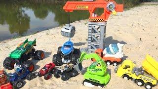 getlinkyoutube.com-Мультик про машинки и строительную технику с игрушками СТРОИТЕЛЬСТВО ВОДНЫХ ГОРОК  Машинки для детей