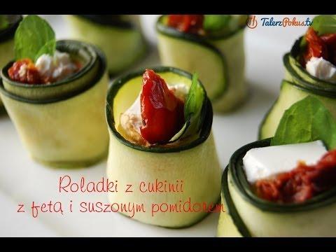 Roladki z cukinii z fetą i suszonym pomidorem