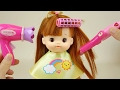 Baby Doll hair shop hair cut toys and Baby sitter play
