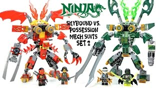 getlinkyoutube.com-Ninjago Mech Suit Skybound v Possession Unofficial LEGO Set 2 w/ Kai v Cyren & Zane v Morro