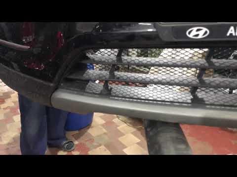 Hyundai Santa Fe защитная сетка радиатора. Установка в нижние и верхние секции переднего бампера