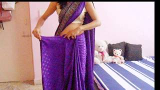 getlinkyoutube.com-How To Wrap A Saree-How To Drape A Saree On Backless Blouse/Wear Saree Look Slim