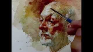 getlinkyoutube.com-Watercolor step by step how to paint portrait, demo by Zimou Tan