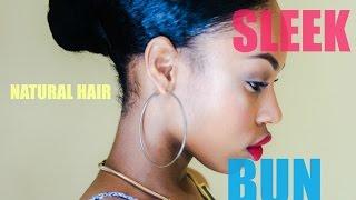 getlinkyoutube.com-Sleek Natural Hair Bun No Breakage!