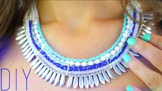 getlinkyoutube.com-DIY : PLASTRON AVEC PERLES - BEADED STATEMENT NECKLACE ENGLISH SUBS