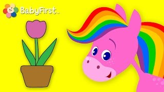 getlinkyoutube.com-Flowers | Coloring and Music | Rainbow Horse | BabyFirst TV
