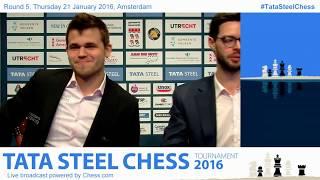 getlinkyoutube.com-6- Magnus Carlsen beats Loek Van Wely, fun interview and Analysis - Tata Steel Chess 2016