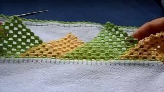 getlinkyoutube.com-Bico em crochê com triângulos - PARA CANHOTO