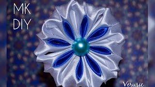 getlinkyoutube.com-Снежинка канзаши из атласной ленты/ Двухцветный лепесток/ Snowflake kanzashi satin ribbon DIY