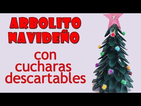 Manualidades de Navidad- Arbolito navideño con cucharas descartables