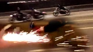 "getlinkyoutube.com-200KPH Two-Stroke Motorcycle CRASH turns into a FIREWORKS !!! - ""ride safe always"""