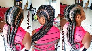 getlinkyoutube.com-HOW TO ★ 4 feed in stitch braids - By Dy'A