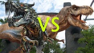 getlinkyoutube.com-Grimlock VS Jurassic Park T-Rex