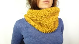 getlinkyoutube.com-How to Loom Knit a Cowl in Seed Stitch (DIY Tutorial)