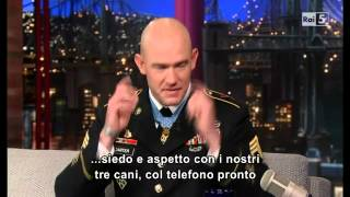 getlinkyoutube.com-Staff Sgt. Ty Michael Carter (part 1) - Letterman - 28 08 2013 - Sub Ita (Rai5)