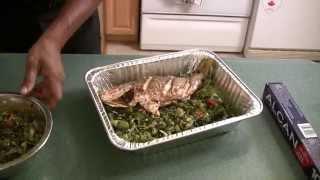 getlinkyoutube.com-Red Snapper Fish stuffed with Callaloo