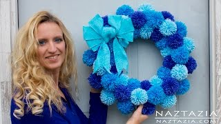 getlinkyoutube.com-DIY Tutorial - How to Make Easy Simple Beginner Yarn Pom Pom Wreath - Pompom Pompoms