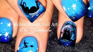 getlinkyoutube.com-Halloween Nails | DIY Chrome Nail Art Witch and Cat Nail Design Tutorial