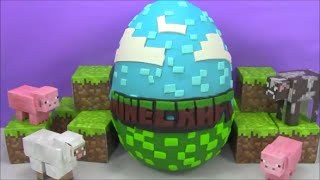 getlinkyoutube.com-Huge Minecraft Giant Surprise Egg Play Doh filled with Toys from Big Hero 6 and more!