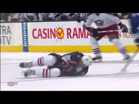 Dion Phaneuf's Clean Hit on Artem Anisimov - Blue Jackets vs Leafs - Nov 25th 2013 (HD)