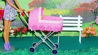 getlinkyoutube.com-How to make a baby stroller #2 for doll (Monster High, Barbie, etc)