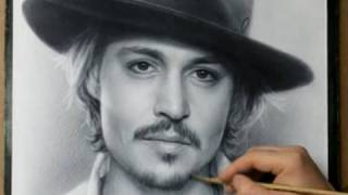 getlinkyoutube.com-Johnny Depp Speed drawing portrait in dry brush technique