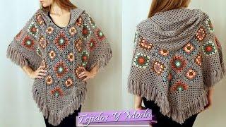 getlinkyoutube.com-Poncho Tejido a Crochet - Hermosos Diseños