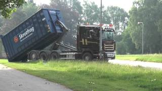 getlinkyoutube.com-Scania truck with hook lift container fetches wood waste in 2013
