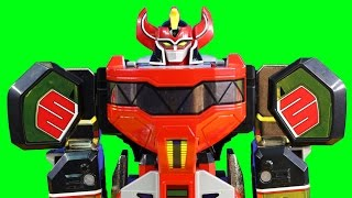 getlinkyoutube.com-Mighty Morphin Power Rangers Legacy Megazord Battles Imaginext Robots & Mohawk Dude