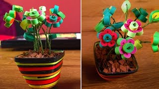 getlinkyoutube.com-DIY Quilling Miniature Flower Pot In 3D | Quilling Flowers