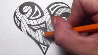 getlinkyoutube.com-Drawing Tribal Maori Shapes Inside a Heart Tattoo Design