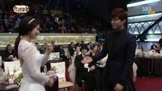 getlinkyoutube.com-Park Shin Hye & Lee Min Ho at SBS AWARD 2013 , Moments  / 720pHD