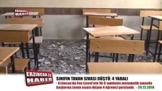 Erzincan'da Okulun Tavan Sıvası Düştü: 4 Yaralı
