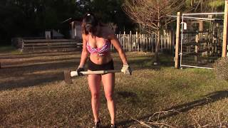 getlinkyoutube.com-Almost 50 Year Old Farm Girl Chopping Wood