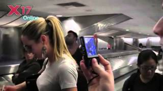 getlinkyoutube.com-Victoria's Secret Supermodel Candice Swanepoel Travelling Casual At LAX