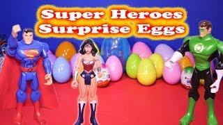getlinkyoutube.com-SUPER HEROES Surprise Eggs Superman, Batman, Iron Man Wonder Woman Surprise Eggs Toys Videos