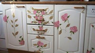 getlinkyoutube.com-Декупаж кухонной мебели, шкафов и полок