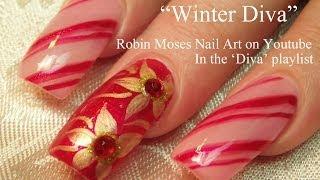 getlinkyoutube.com-Easy Christmas Nails   Diva Candy Stripe Nail Art with Gold Poinsettias!