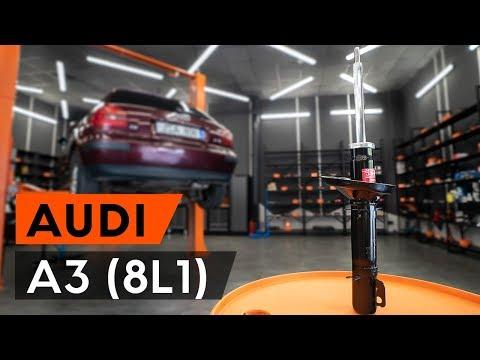 Как заменить переднюю стойку амортизатора наAUDI A3 1 (8L1) [TUTORIAL AUTODOC]
