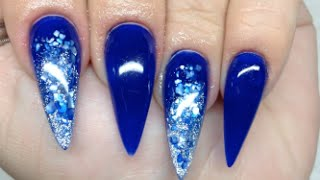 getlinkyoutube.com-How To Blue Crushed Shell Acrylic Nails