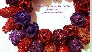 getlinkyoutube.com-Corona navideña DE CARTONES DE HUEVO. DIY.